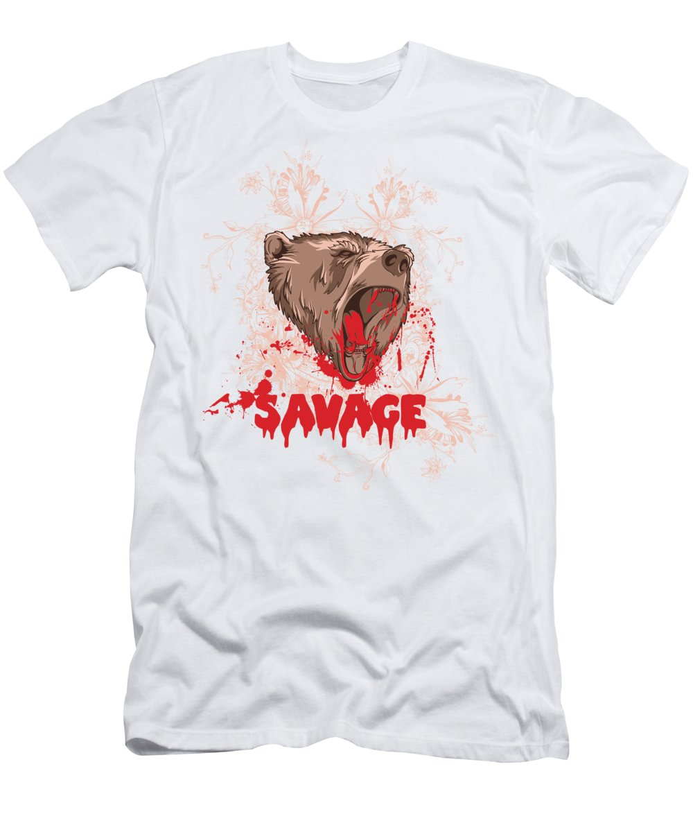 Animal T-Shirt featuring the digital art Rampaging Bear Savage by Jacob Zelazny