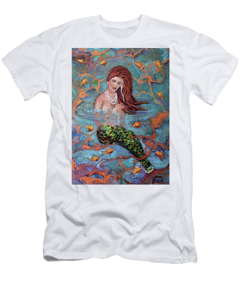 Blue T-Shirt featuring the painting Red Headed Mermaid Ophelia Painting by Linda Queally by Linda Queally