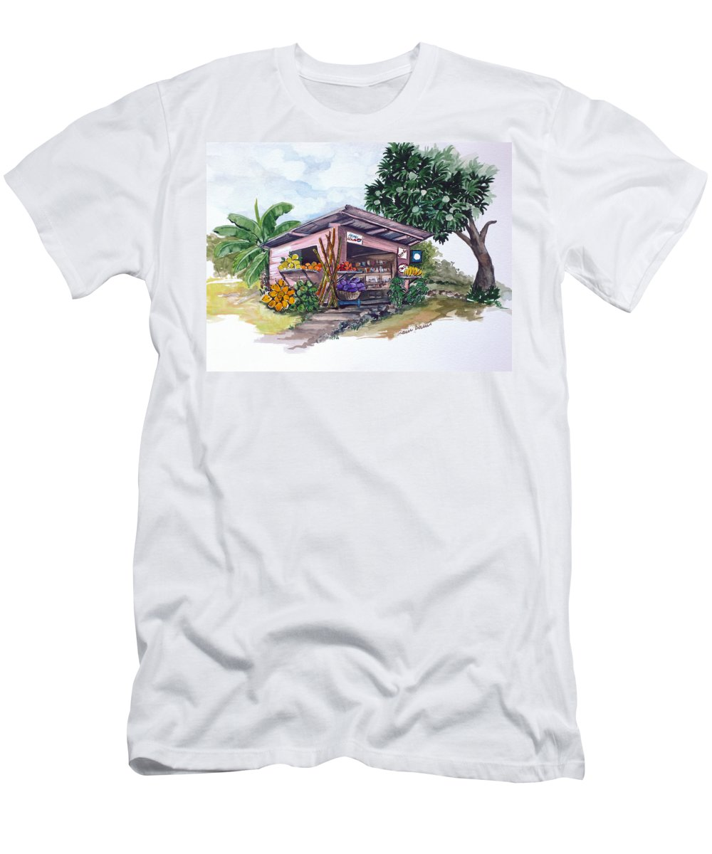 Caribbean Painting Little Shop Fruit & Veg Shop Painting Caribbean Tropical Painting Greeting Card Painting T-Shirt featuring the painting Roadside Vendor by Karin Dawn Kelshall- Best