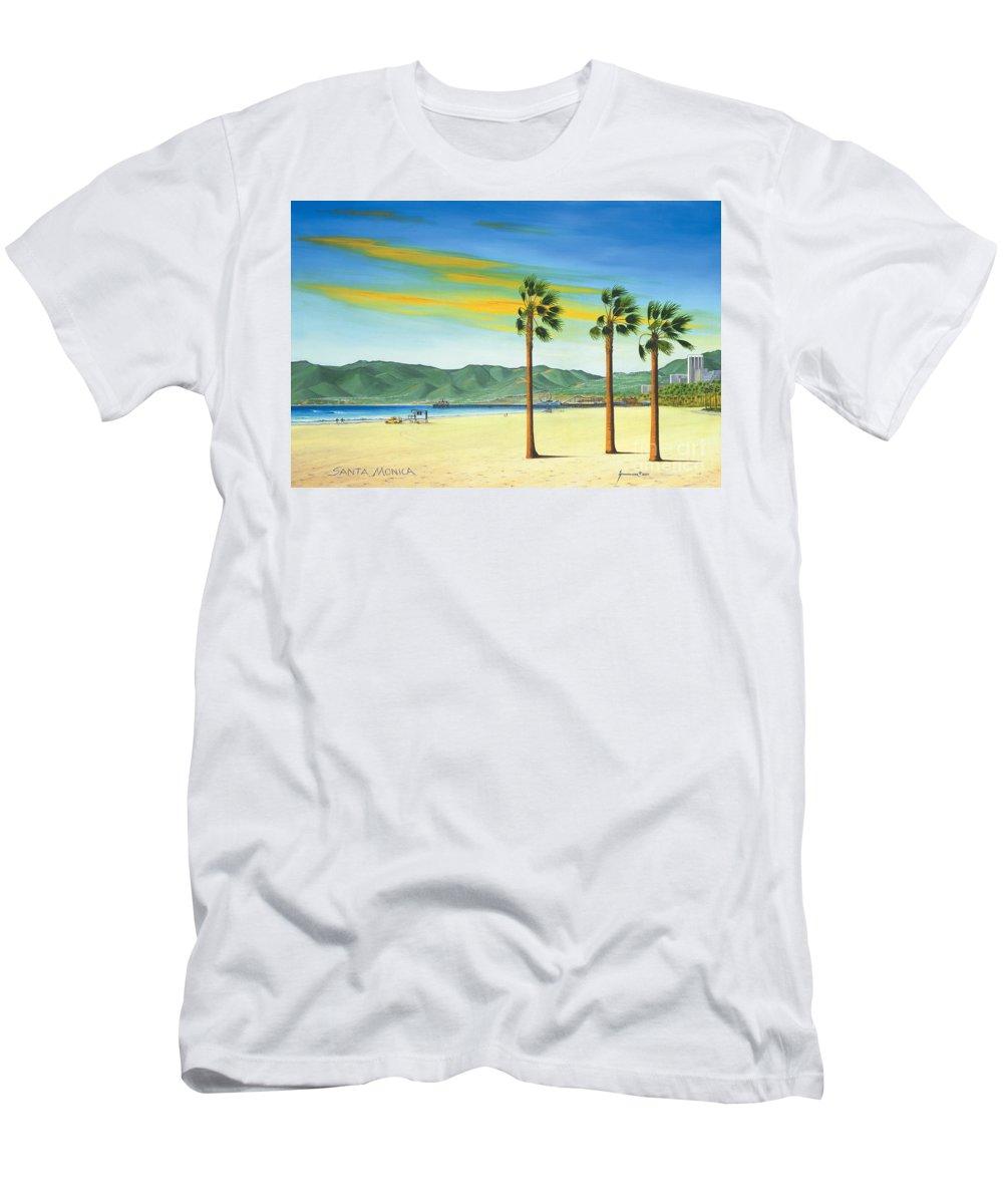 Santa Monica T-Shirt featuring the painting Santa Monica by Jerome Stumphauzer