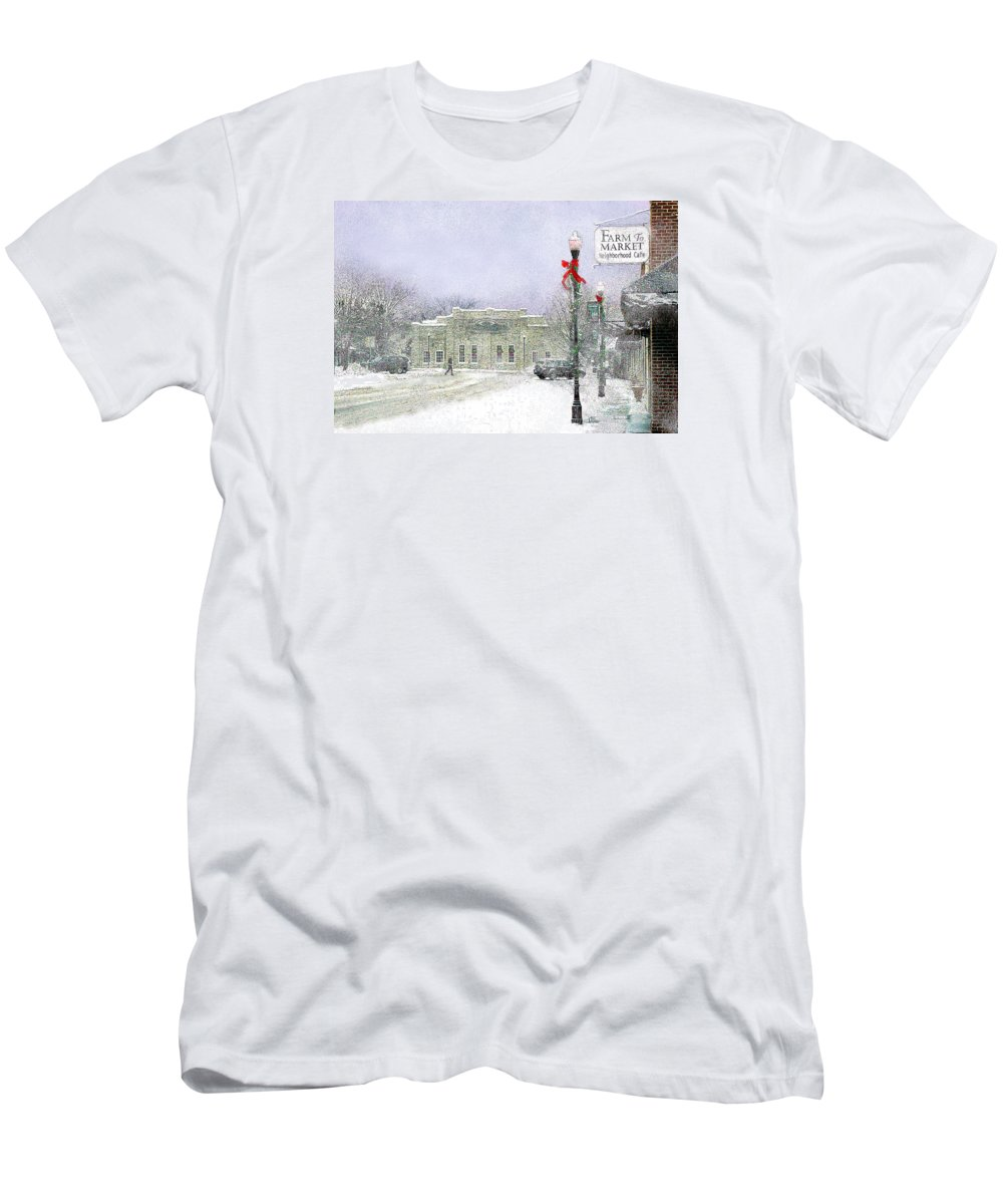 Snow Scene T-Shirt featuring the photograph Strang Car Barn in Winter by Steve Karol