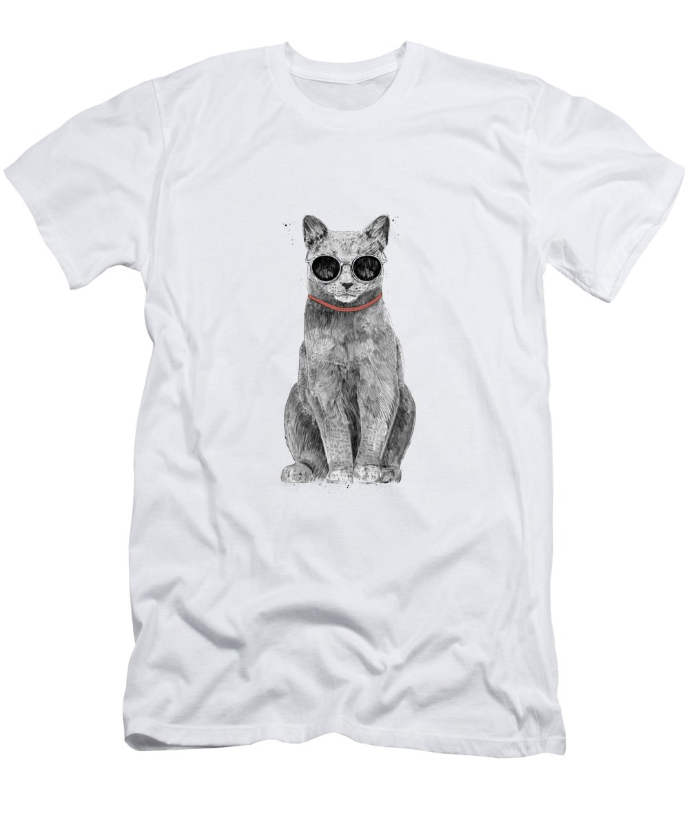 Cat T-Shirt featuring the drawing Summer Cat by Balazs Solti
