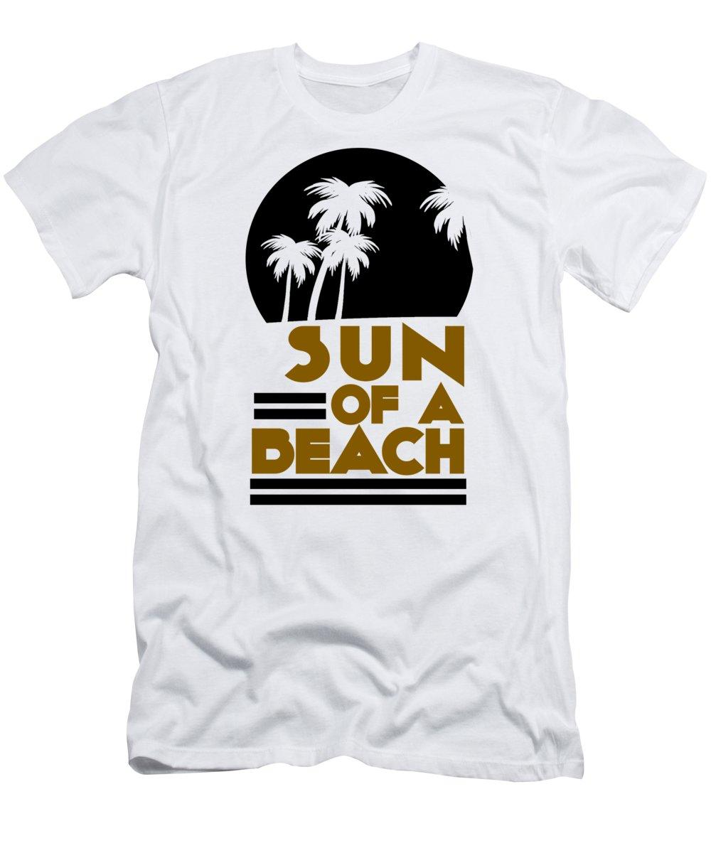 Beach T-Shirt featuring the digital art Sun of a Beach Palm Trees Summer Pun by Jacob Zelazny
