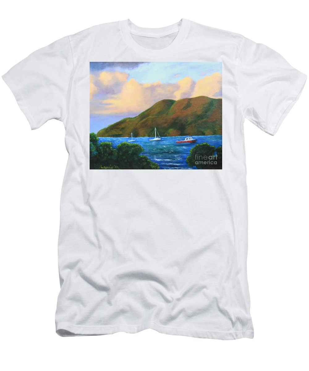 Sunset T-Shirt featuring the painting Sunset on Cruz Bay by Laurie Morgan