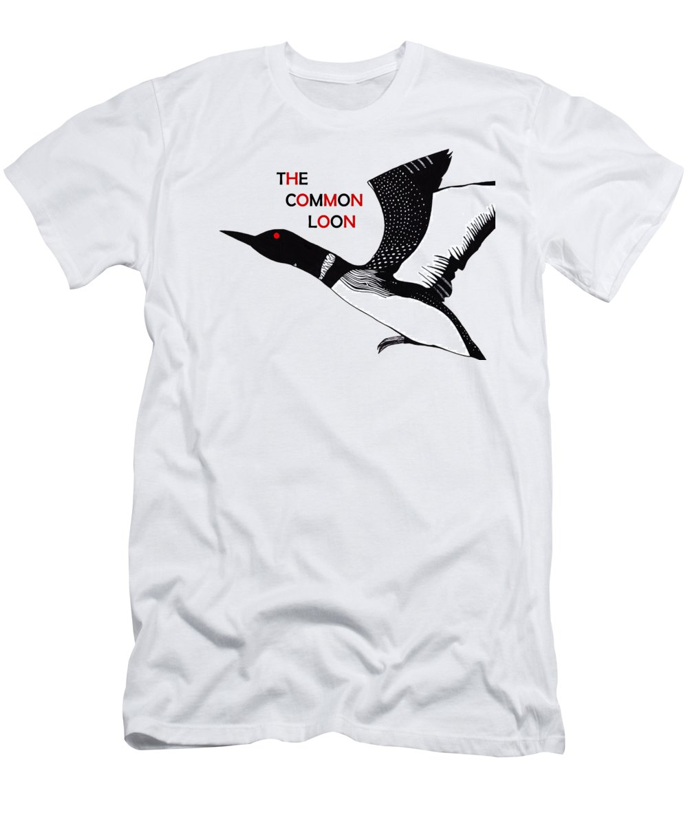 The Common Loon T-Shirt featuring the drawing The Common Loon Logo by Tara Marolf