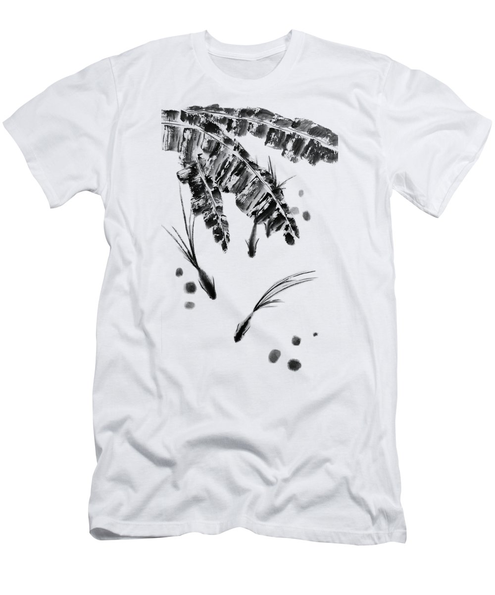 Fish T-Shirt featuring the painting Three Little Fish - Bw - No Cally by Birgit Moldenhauer