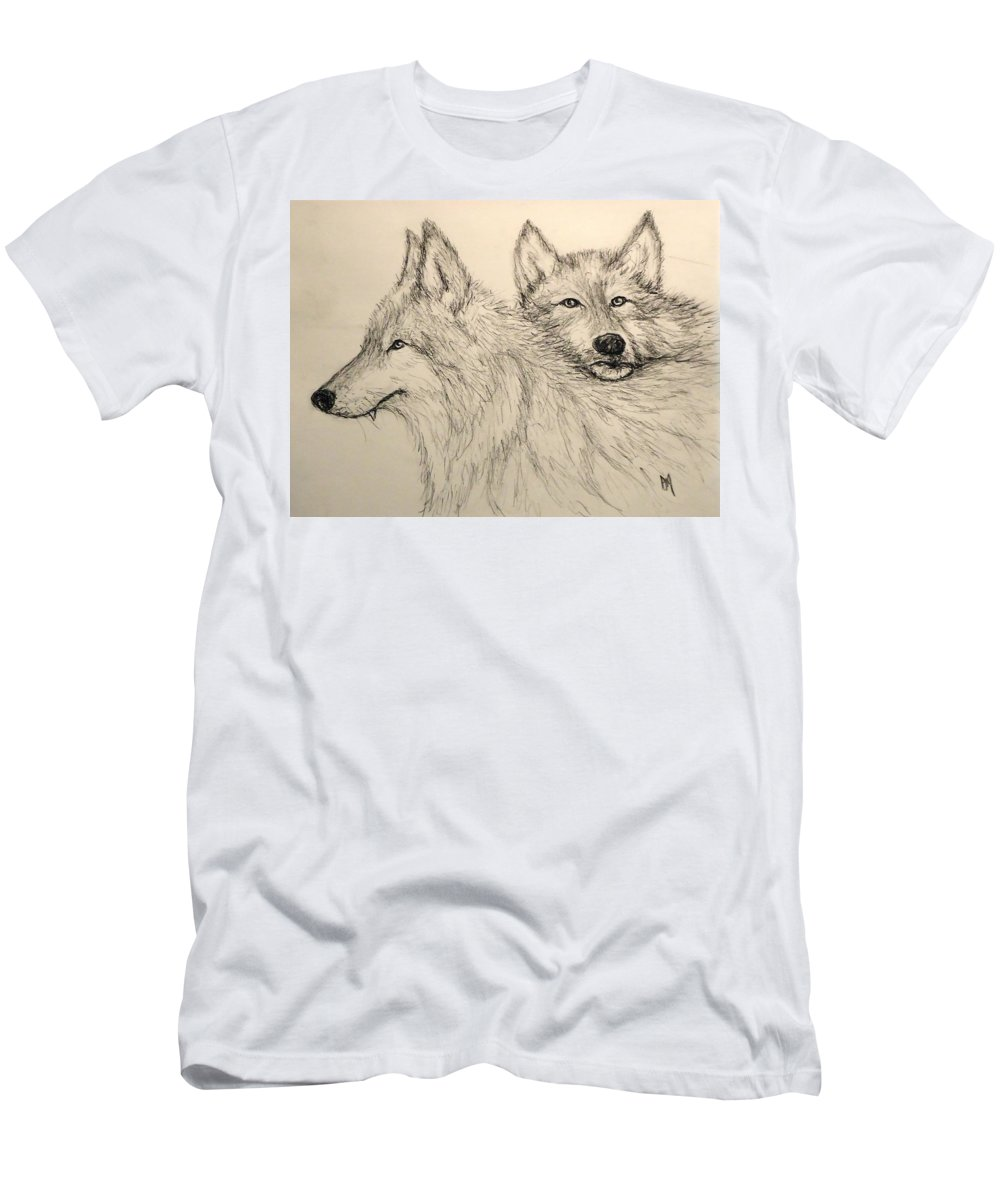 Wolves T-Shirt featuring the drawing Timberwolf by Pete Maier