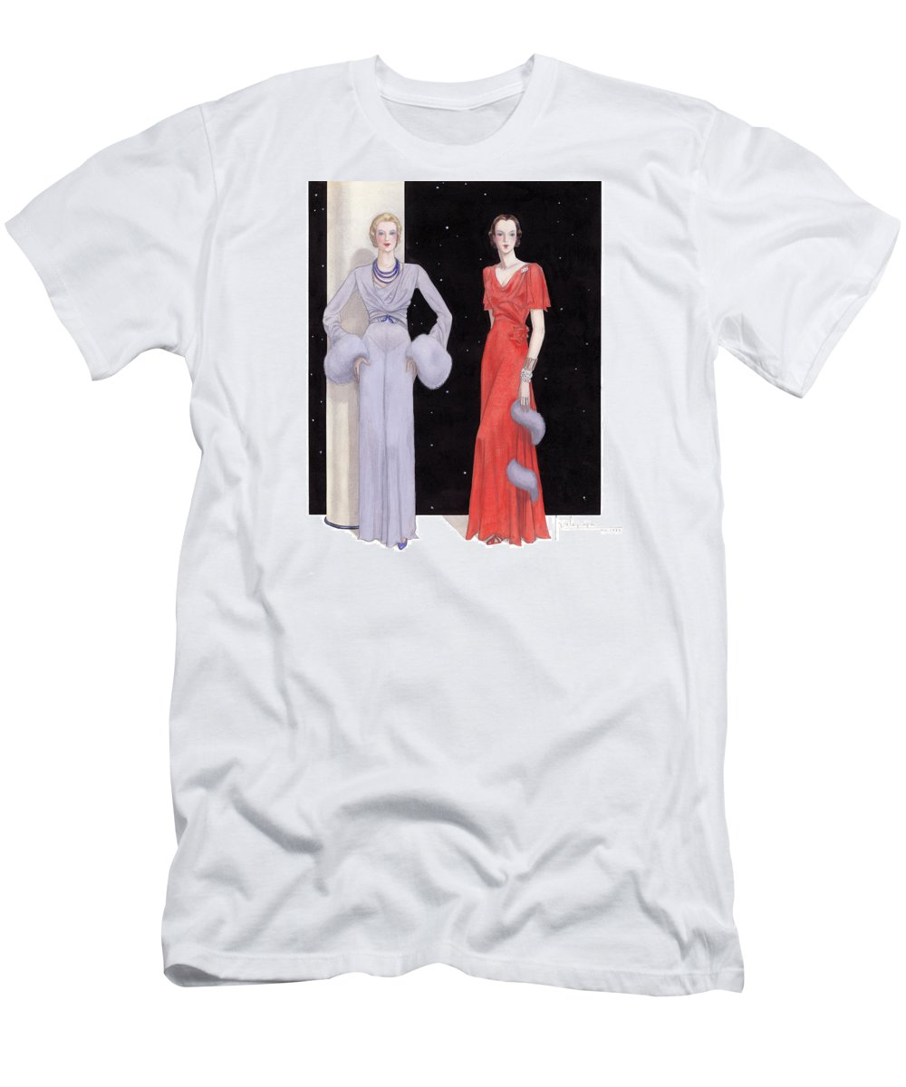 Holiday T-Shirt featuring the drawing Two Women in Evening Gowns on a Starry Night by Georges Lepape