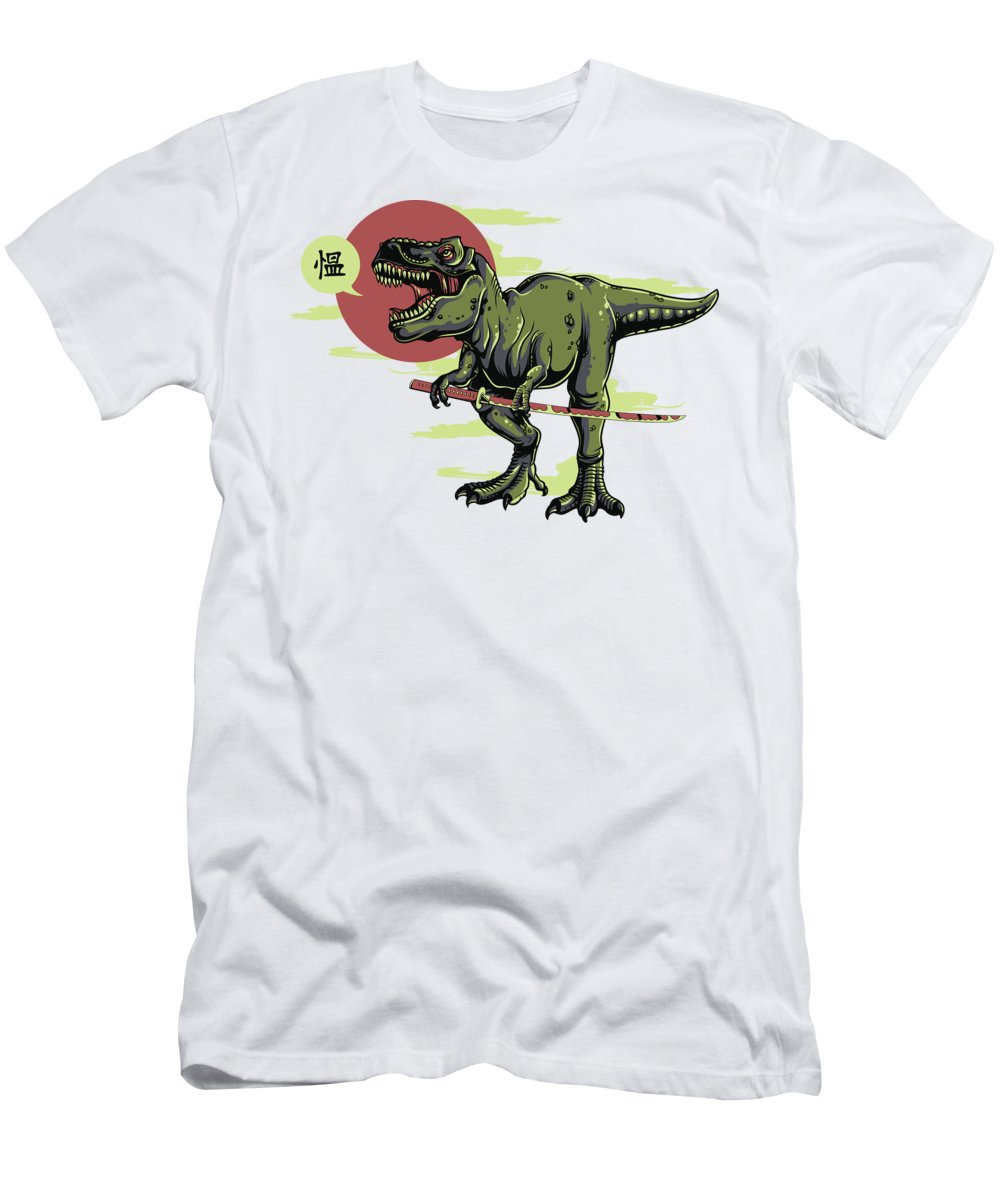 Dinosaur T-Shirt featuring the digital art Tyrannosaurus Rex Katana by Passion Loft