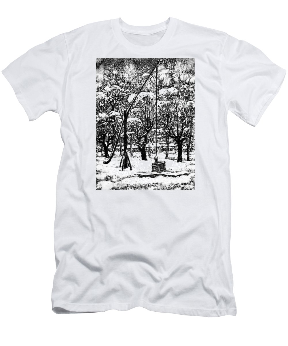 Winter T-Shirt featuring the drawing Winter Landscape by Iliyan Bozhanov