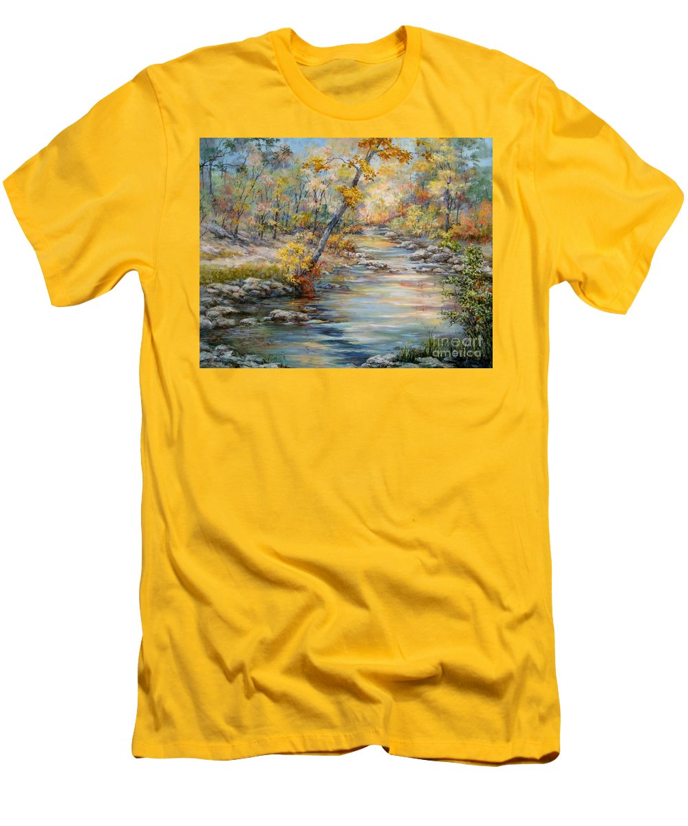 Landscape Men's T-Shirt (Athletic Fit) featuring the painting Cedar Creek Trail by Virginia Potter