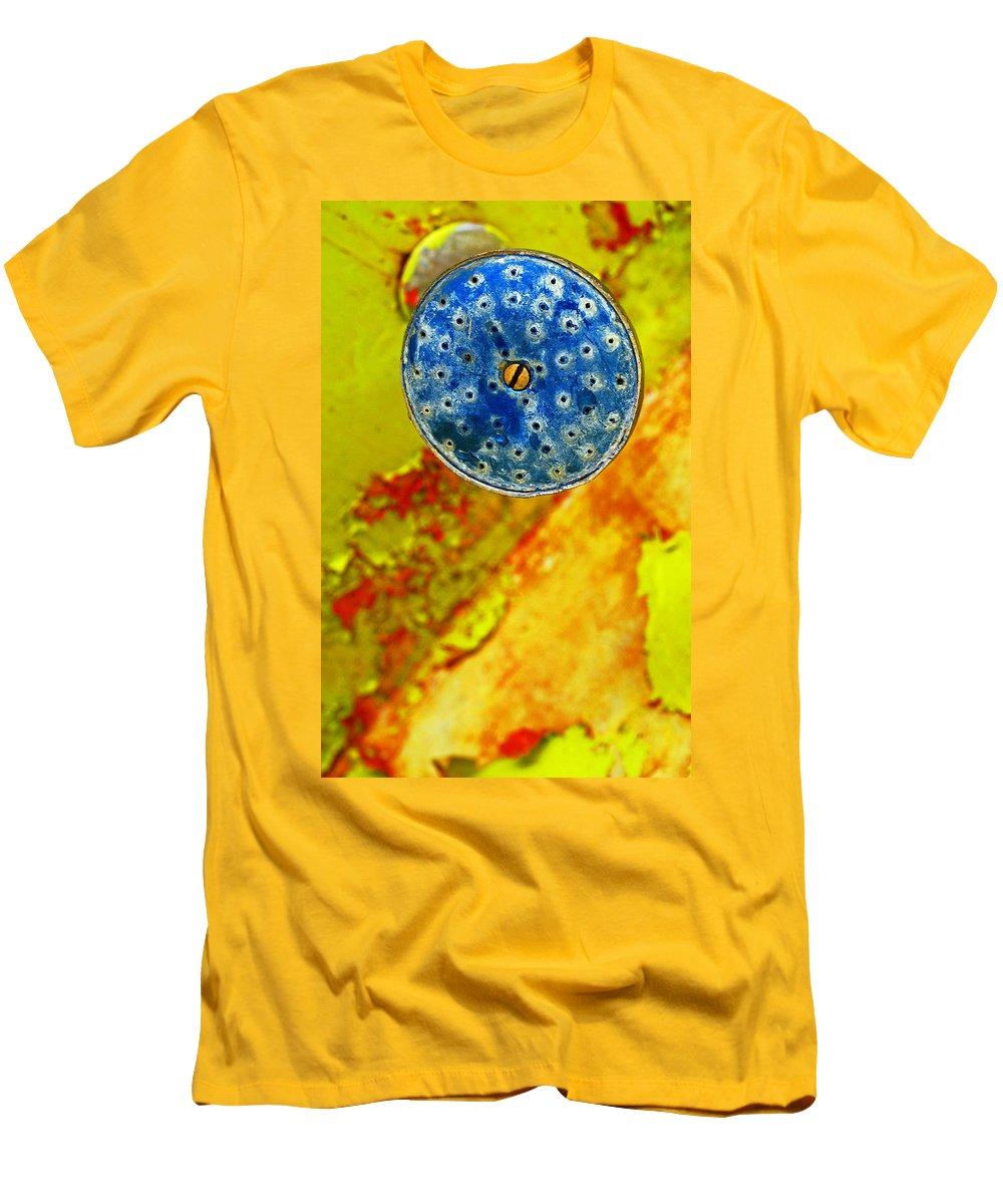 Shadow Men's T-Shirt (Athletic Fit) featuring the photograph Blue Shower Head by Skip Hunt