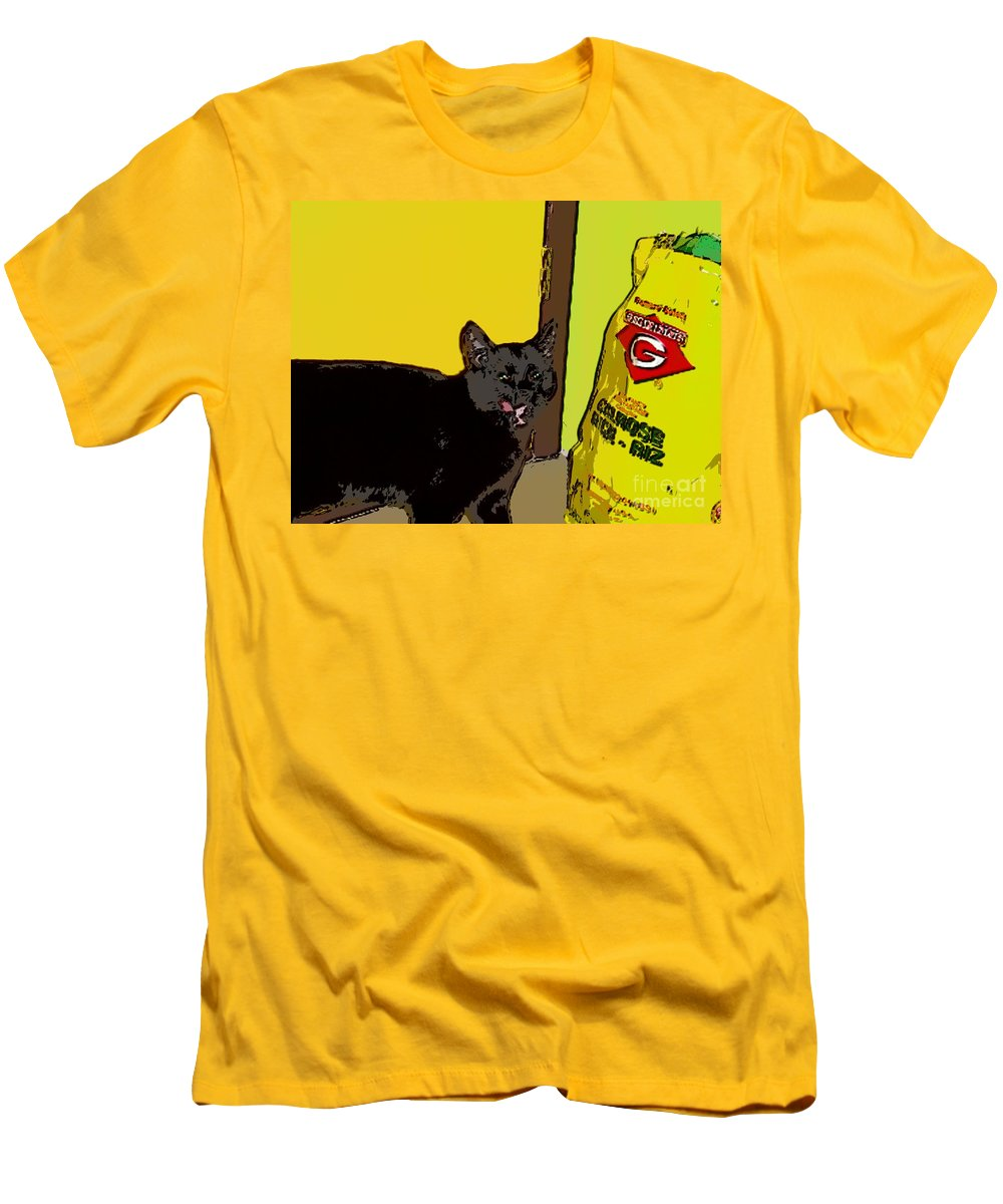 Photograph Cat Black Rice Yellow Critter Green Red Men's T-Shirt (Athletic Fit) featuring the photograph Cat And Rice by Seon-Jeong Kim