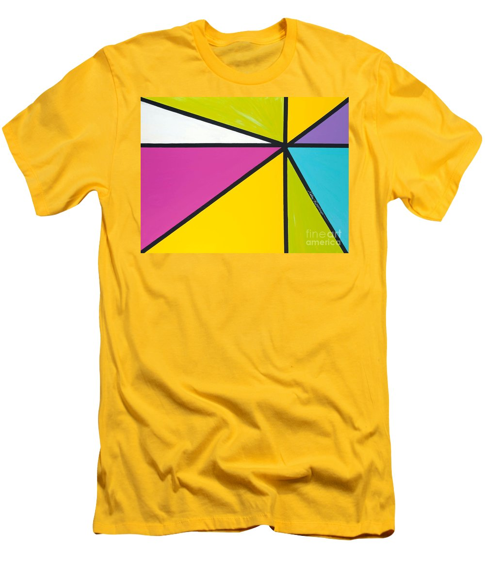 Lines Men's T-Shirt (Athletic Fit) featuring the painting Convergence by Nadine Rippelmeyer