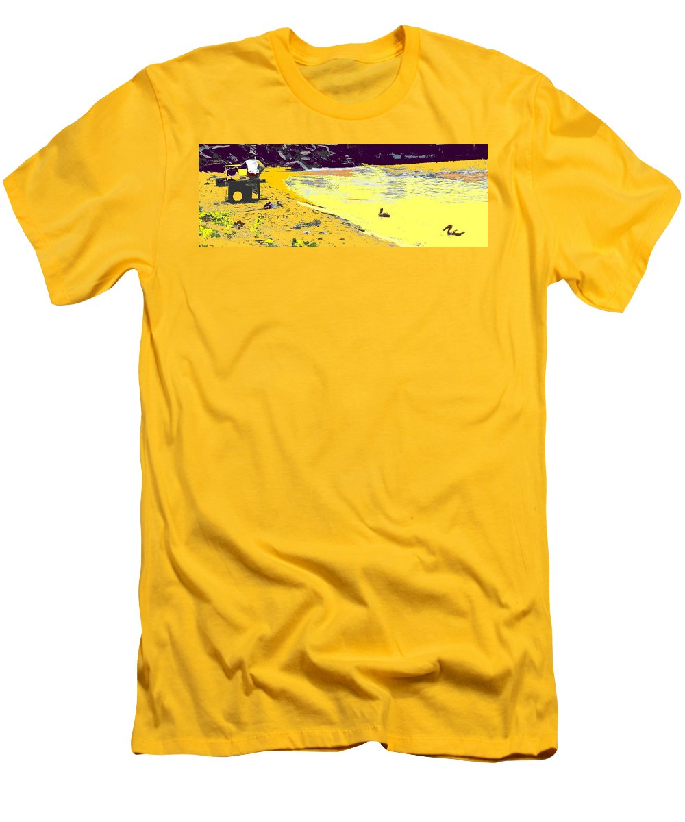 St Kitts Men's T-Shirt (Athletic Fit) featuring the photograph Feeding The Pelicans by Ian MacDonald