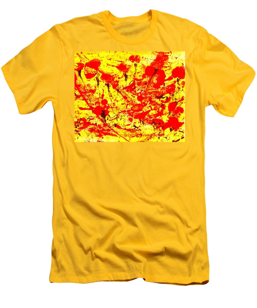 Abstract Men's T-Shirt (Athletic Fit) featuring the painting Flying Poppies by Wayne Potrafka