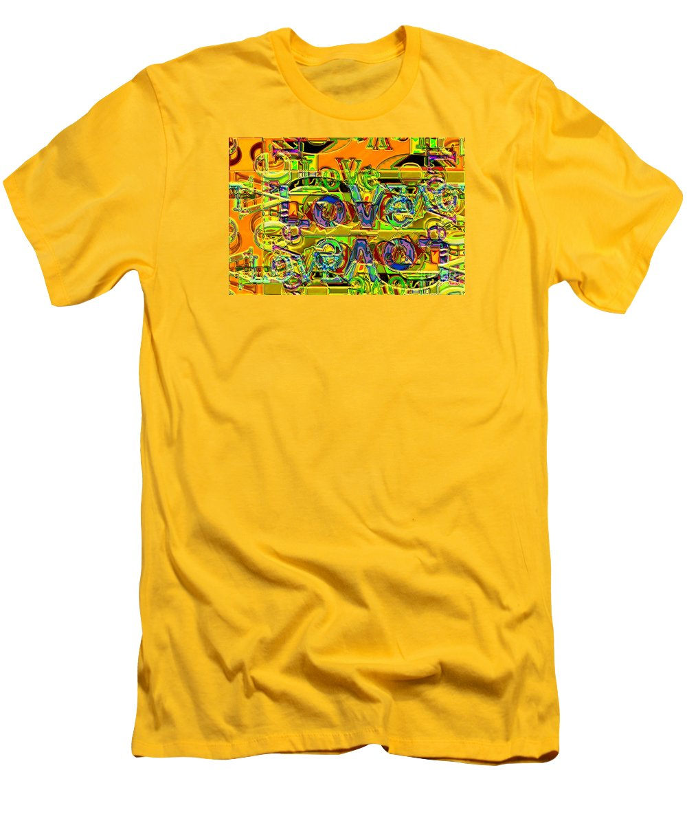 Abstract Men's T-Shirt (Athletic Fit) featuring the digital art Love Contest by Ron Bissett
