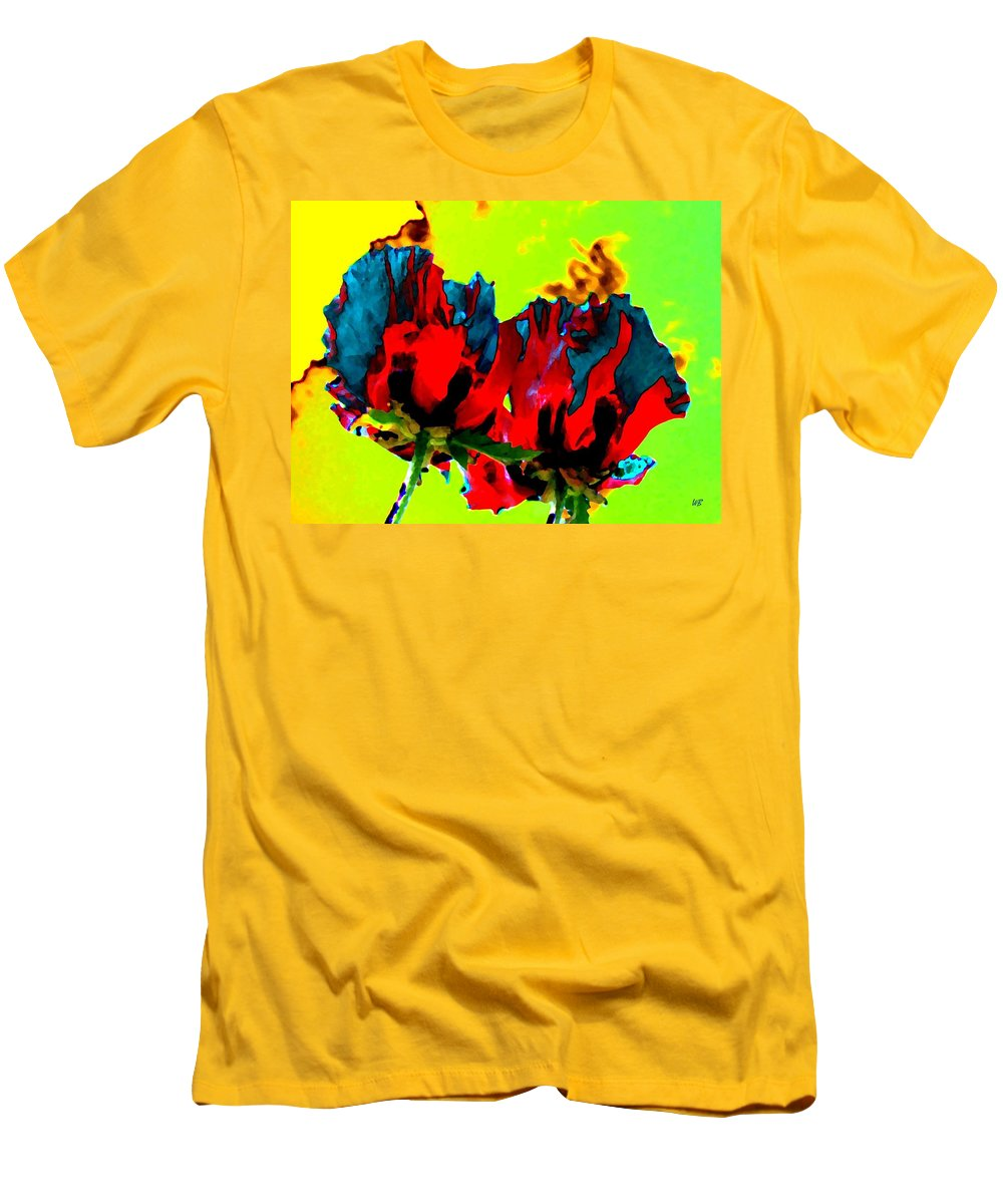 Poppies Men's T-Shirt (Athletic Fit) featuring the digital art Painted Poppies by Will Borden