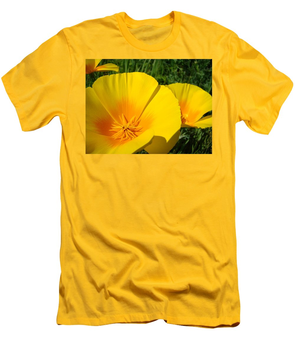 �poppies Artwork� Men's T-Shirt (Athletic Fit) featuring the photograph Poppies Art Poppy Flowers 4 Golden Orange California Poppies by Baslee Troutman