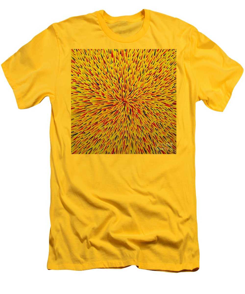 Abstract Men's T-Shirt (Athletic Fit) featuring the painting Radiation Yellow by Dean Triolo