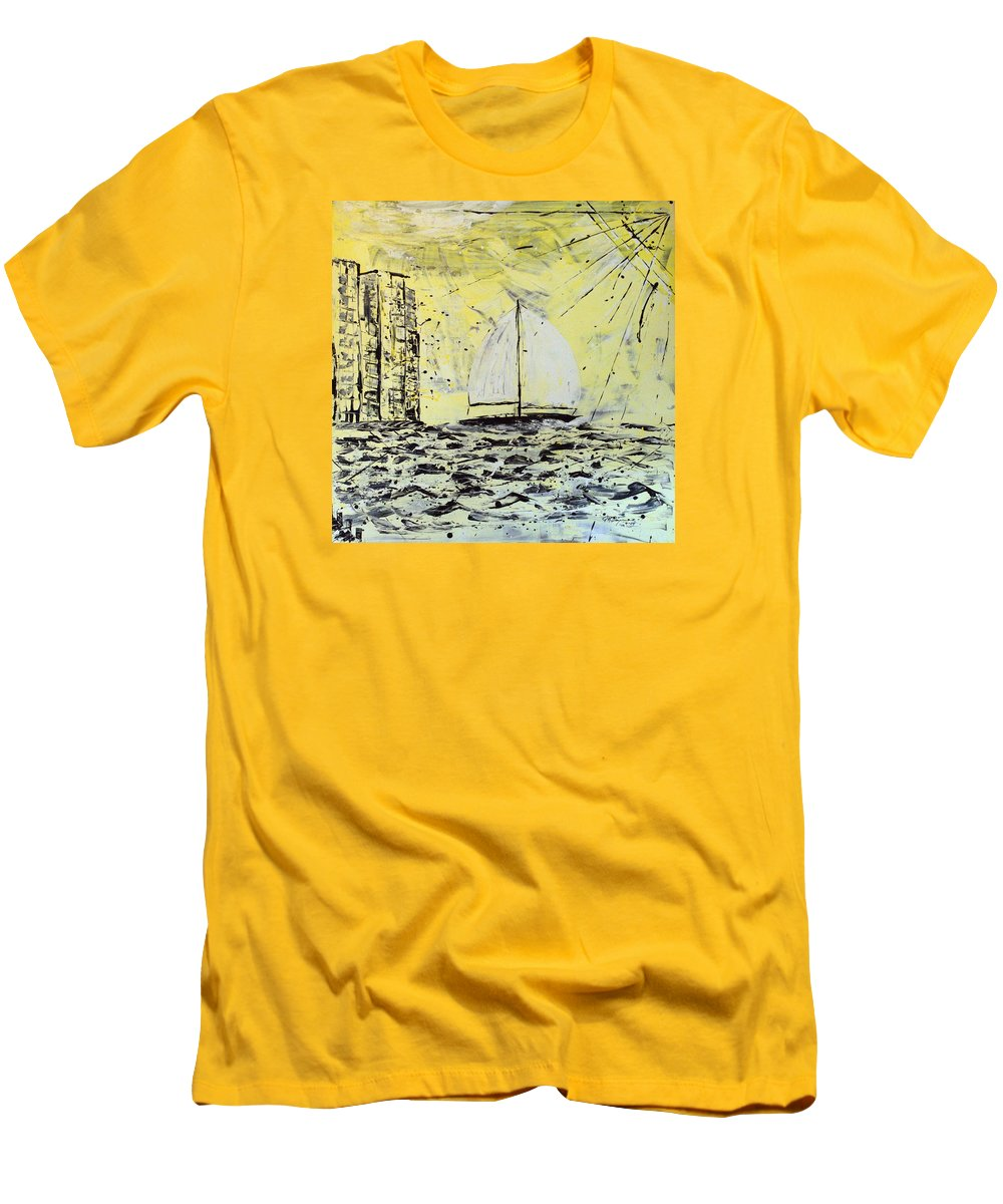 Sailboat With Sunray Men's T-Shirt (Slim Fit) featuring the painting Sail And Sunrays by J R Seymour