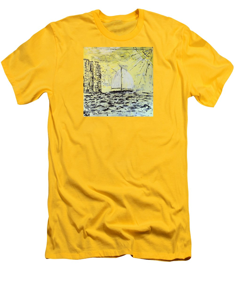 Abstract Men's T-Shirt (Slim Fit) featuring the painting Sail And Sunrays by J R Seymour