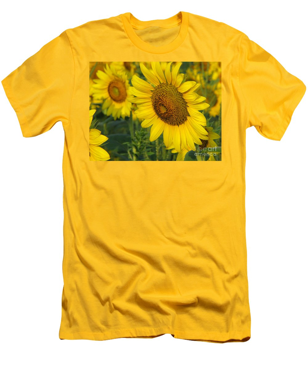 Sunflowers Men's T-Shirt (Athletic Fit) featuring the photograph Sunflower Series by Amanda Barcon