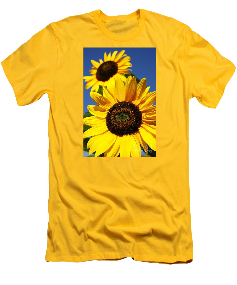 Sunflowers Men's T-Shirt (Athletic Fit) featuring the photograph Sunflowers by Gaspar Avila