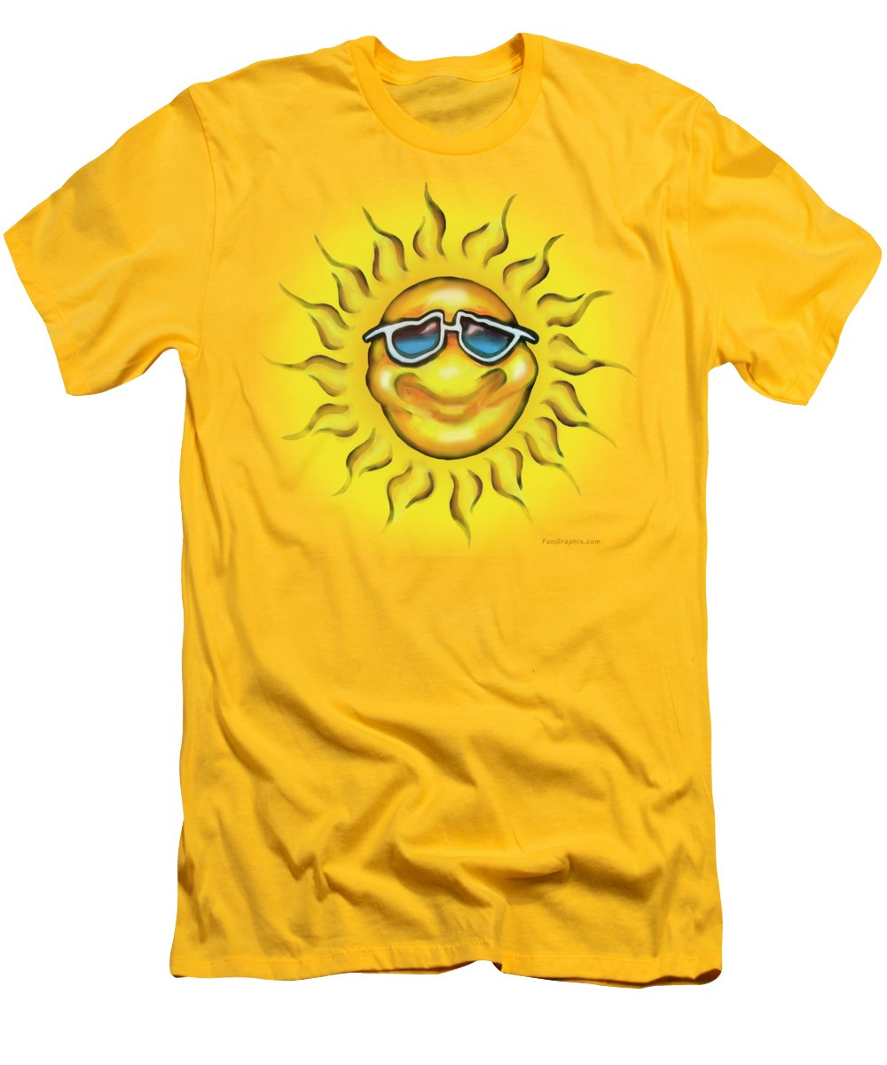 Sun Men's T-Shirt (Athletic Fit) featuring the painting Sunny by Kevin Middleton