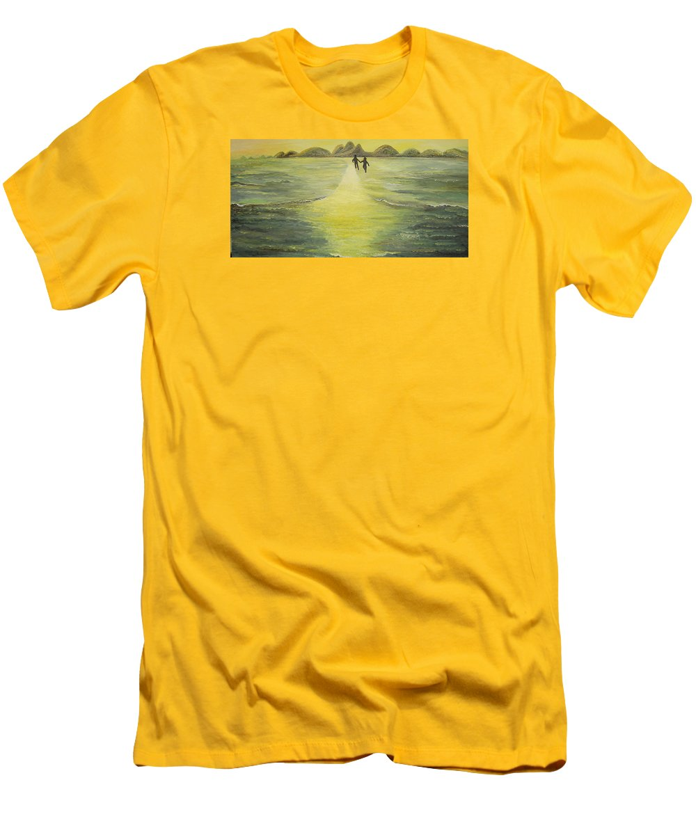 Soul Men's T-Shirt (Athletic Fit) featuring the painting The Road In The Ocean Of Light by Karina Ishkhanova