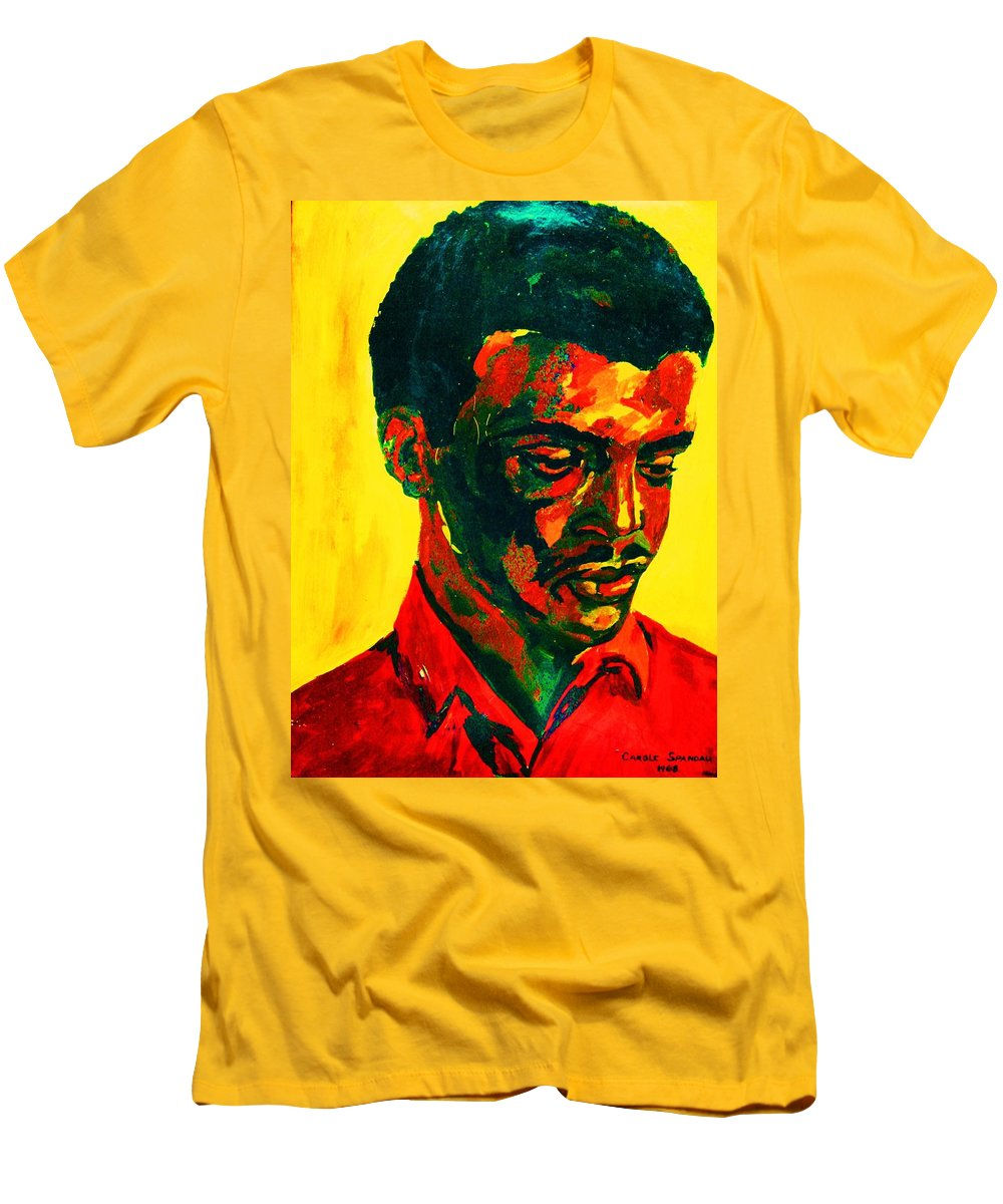 Africa Men's T-Shirt (Athletic Fit) featuring the painting Young African Man by Carole Spandau