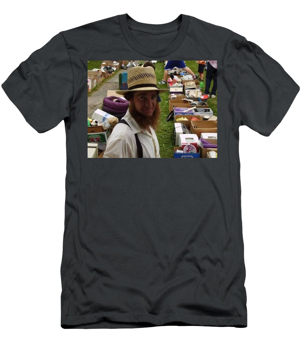 Ohio Amish Prints Men's T-Shirt (Athletic Fit) featuring the photograph    Amish In The City by R A W M