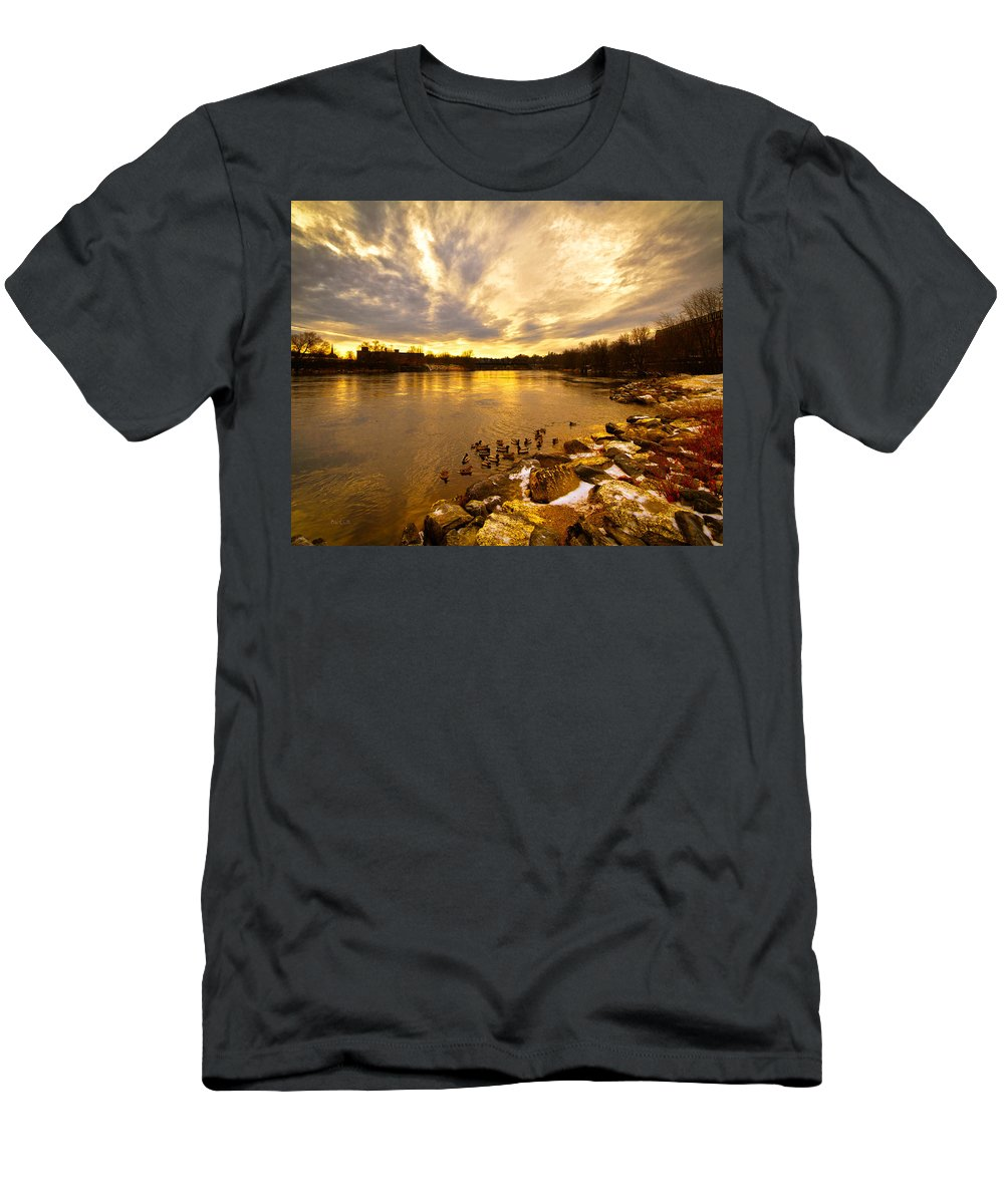 Androscoggin River Men's T-Shirt (Athletic Fit) featuring the photograph Androscoggin River Between Lewiston And Auburn by Bob Orsillo