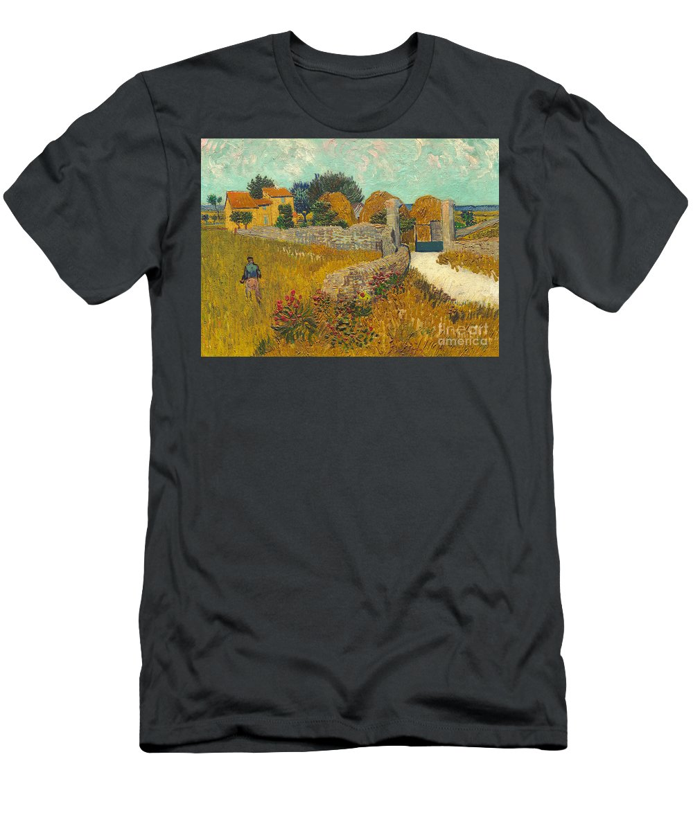 Farmer; Agriculture; Field; Farm; France; South Of France Men's T-Shirt (Athletic Fit) featuring the painting Farmhouse In Provence by Vincent van Gogh