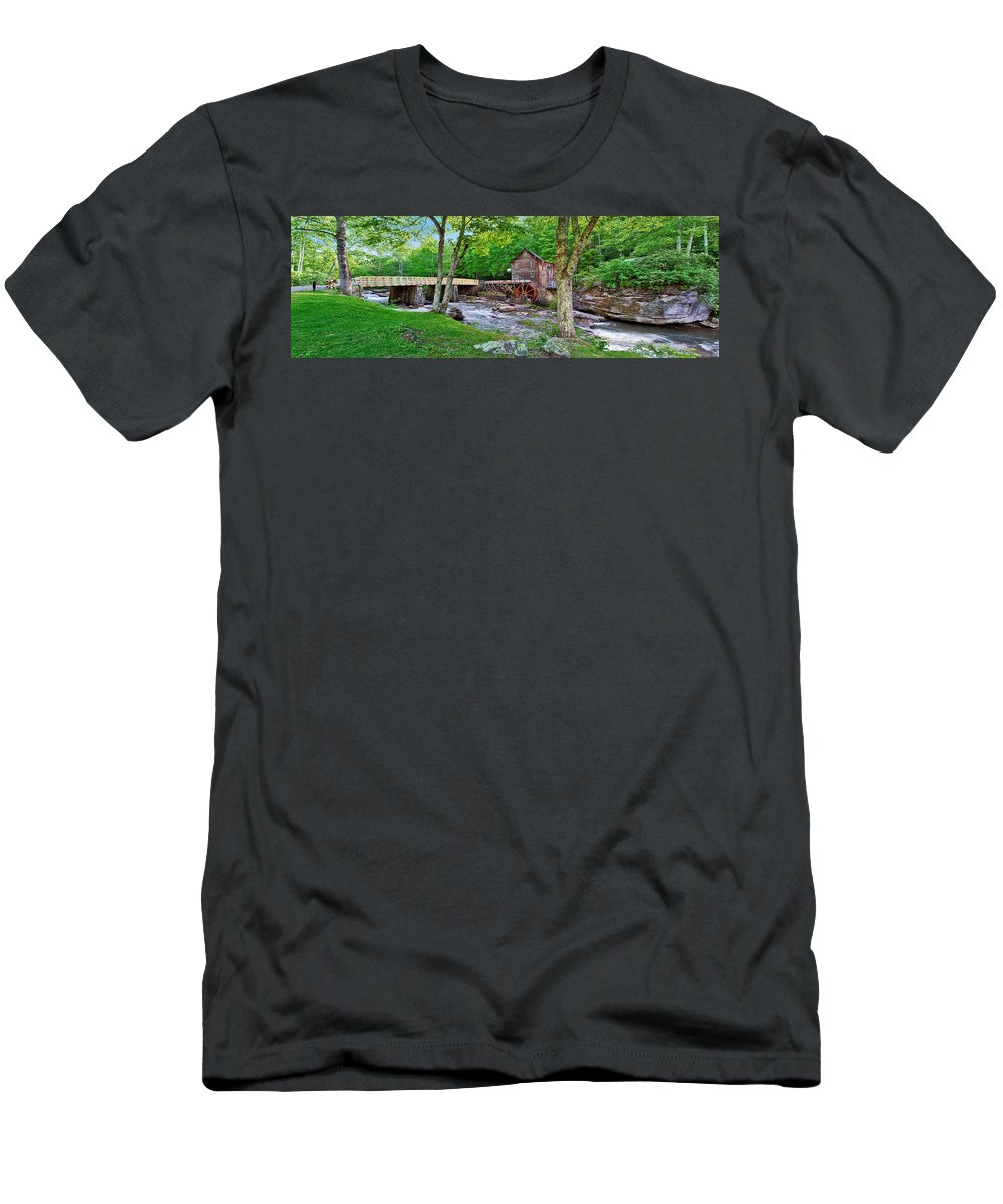 Babcock State Park Men's T-Shirt (Athletic Fit) featuring the photograph Glade Creek Gristmill by Mary Almond
