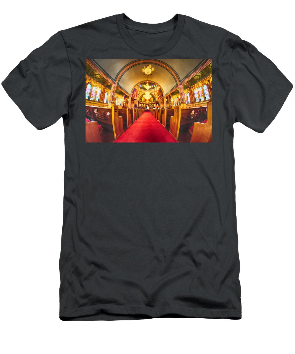 Holy Men's T-Shirt (Athletic Fit) featuring the photograph Interior Of Holy Trinity Gre by Alex Grichenko