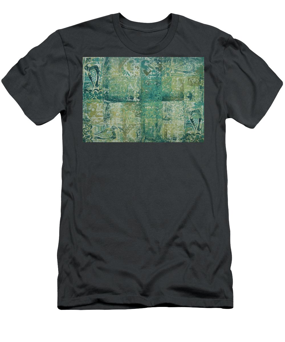 Wood Cut Men's T-Shirt (Athletic Fit) featuring the painting Mesopotamia by Ousama Lazkani