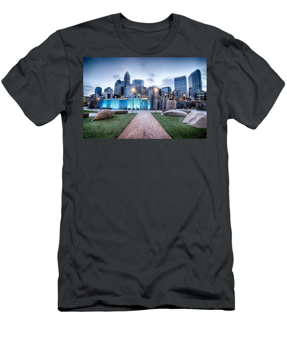 Carolina Men's T-Shirt (Athletic Fit) featuring the photograph New Romare-bearden Park In Uptown Charlotte North Carolina Earl by Alex Grichenko