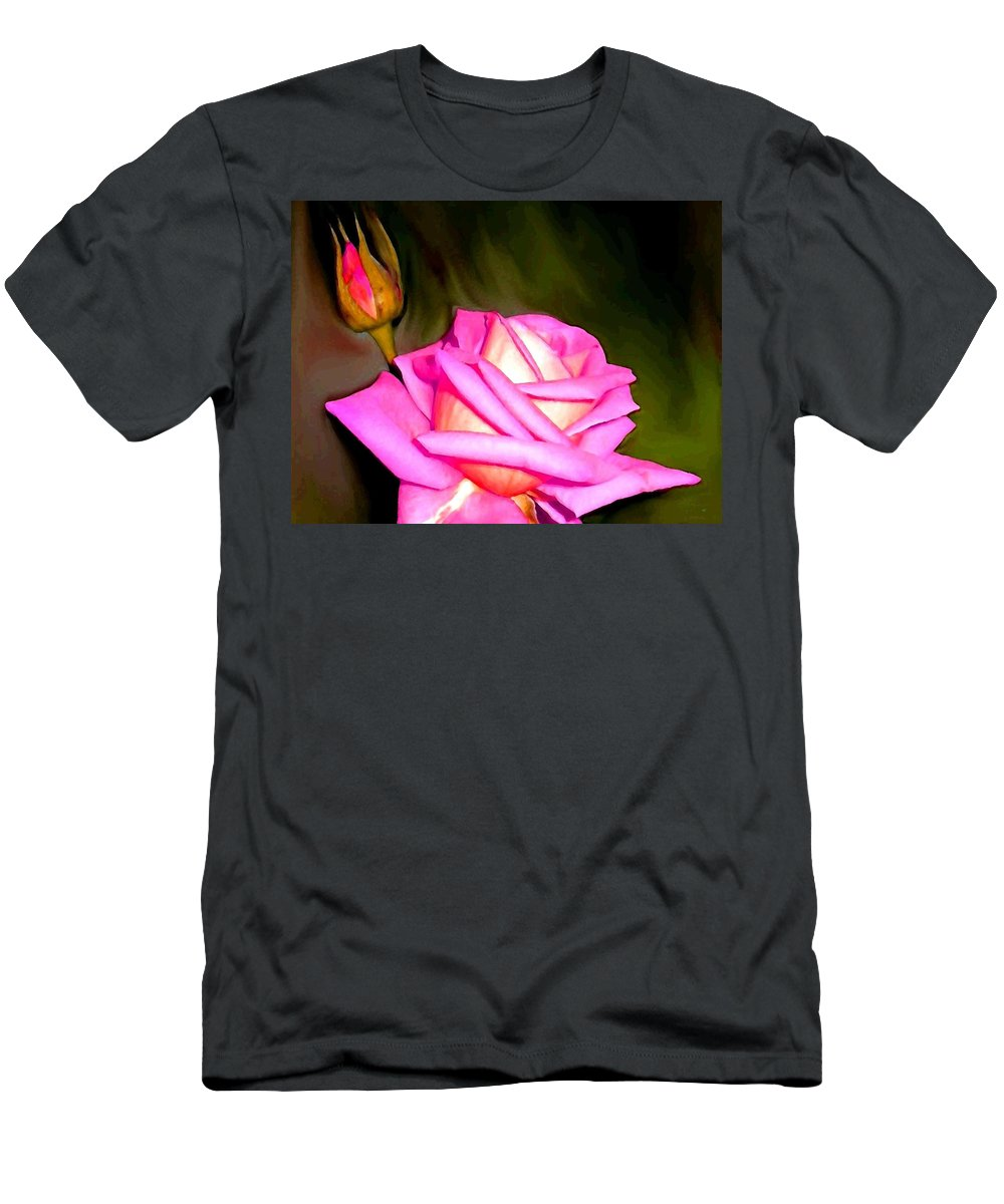 Painted Pink Rose Men's T-Shirt (Athletic Fit) featuring the digital art Painted Pink Rose by Will Borden