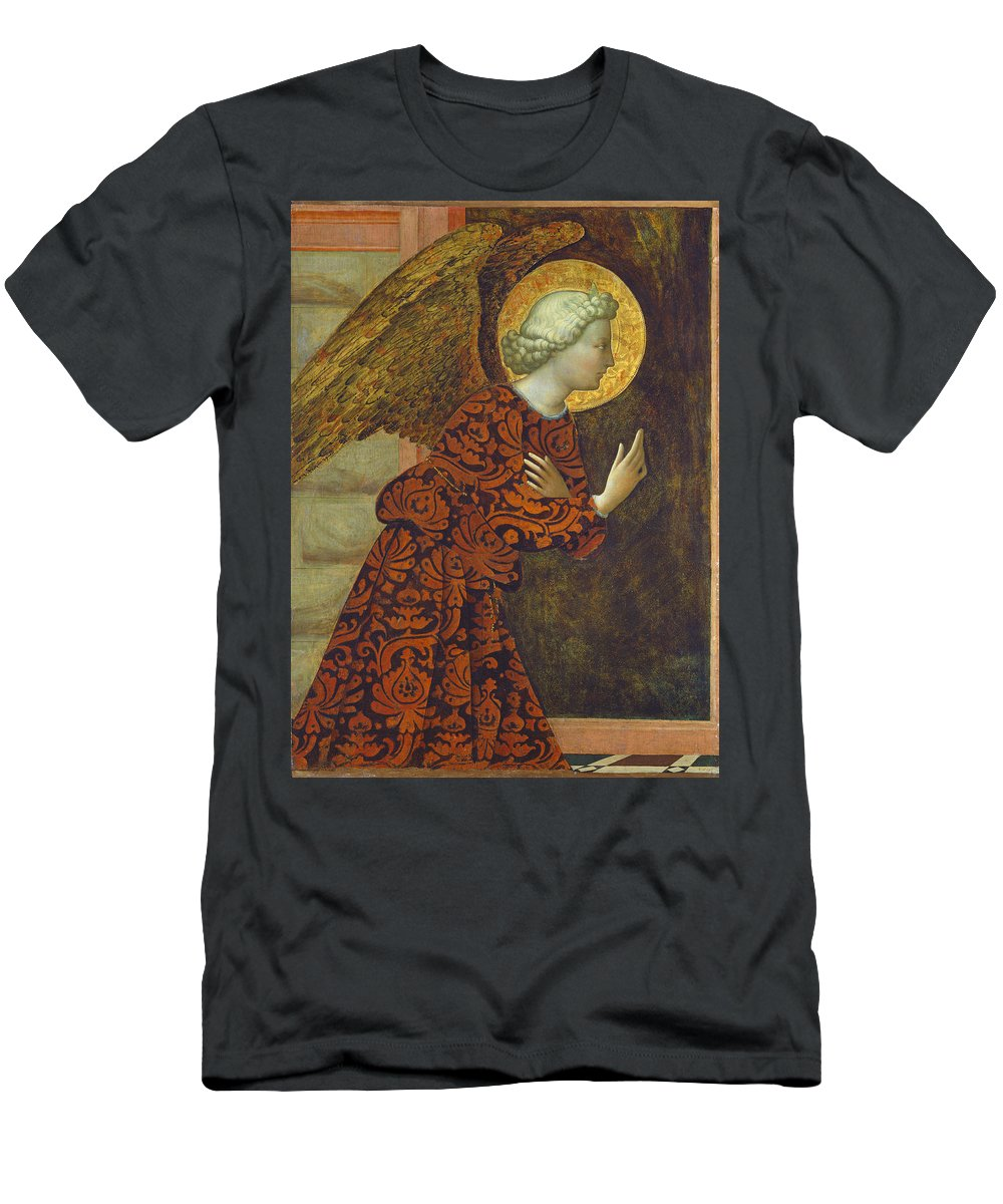 Angel; Wings; Halo; Annunciation; Renaissance; Messenger Men's T-Shirt (Athletic Fit) featuring the painting The Archangel Gabriel by Tommaso Masolino da Panicale