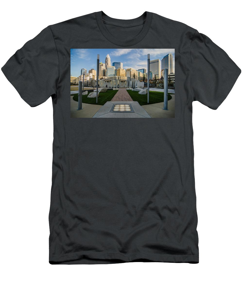 Romare Bearden Men's T-Shirt (Athletic Fit) featuring the photograph View Of Charlotte Skyline by Alex Grichenko