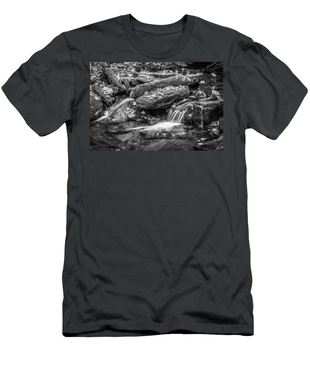 Waterfall Men's T-Shirt (Athletic Fit) featuring the photograph Waterfall Great Smoky Mountains Painted Bw  by Rich Franco