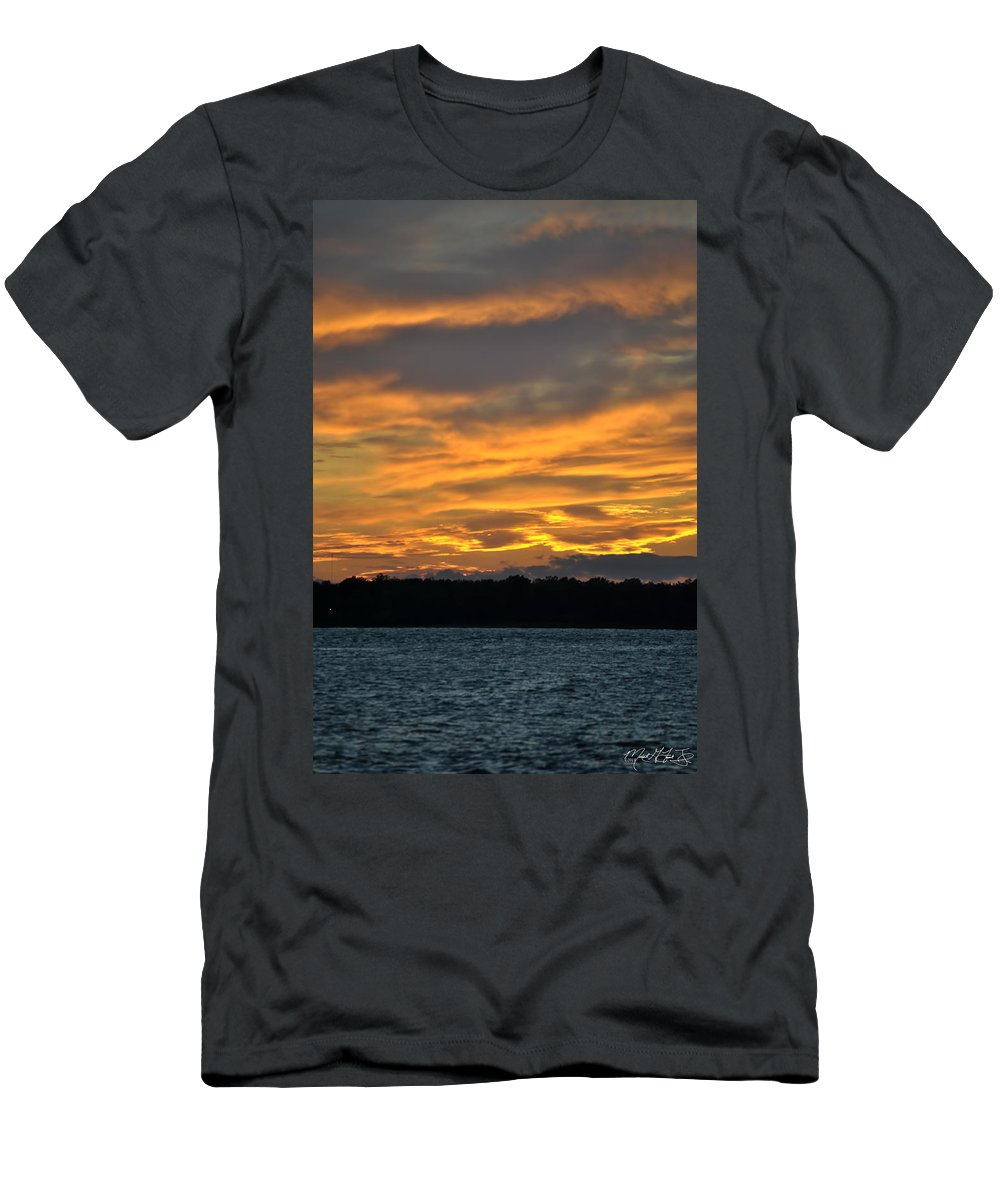 Sunset Men's T-Shirt (Athletic Fit) featuring the photograph 004 Awe In One Sunset Series At Erie Basin Marina by Michael Frank Jr