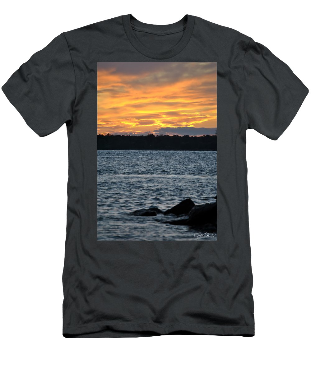 Sunset Men's T-Shirt (Athletic Fit) featuring the photograph 005 Awe In One Sunset Series At Erie Basin Marina by Michael Frank Jr