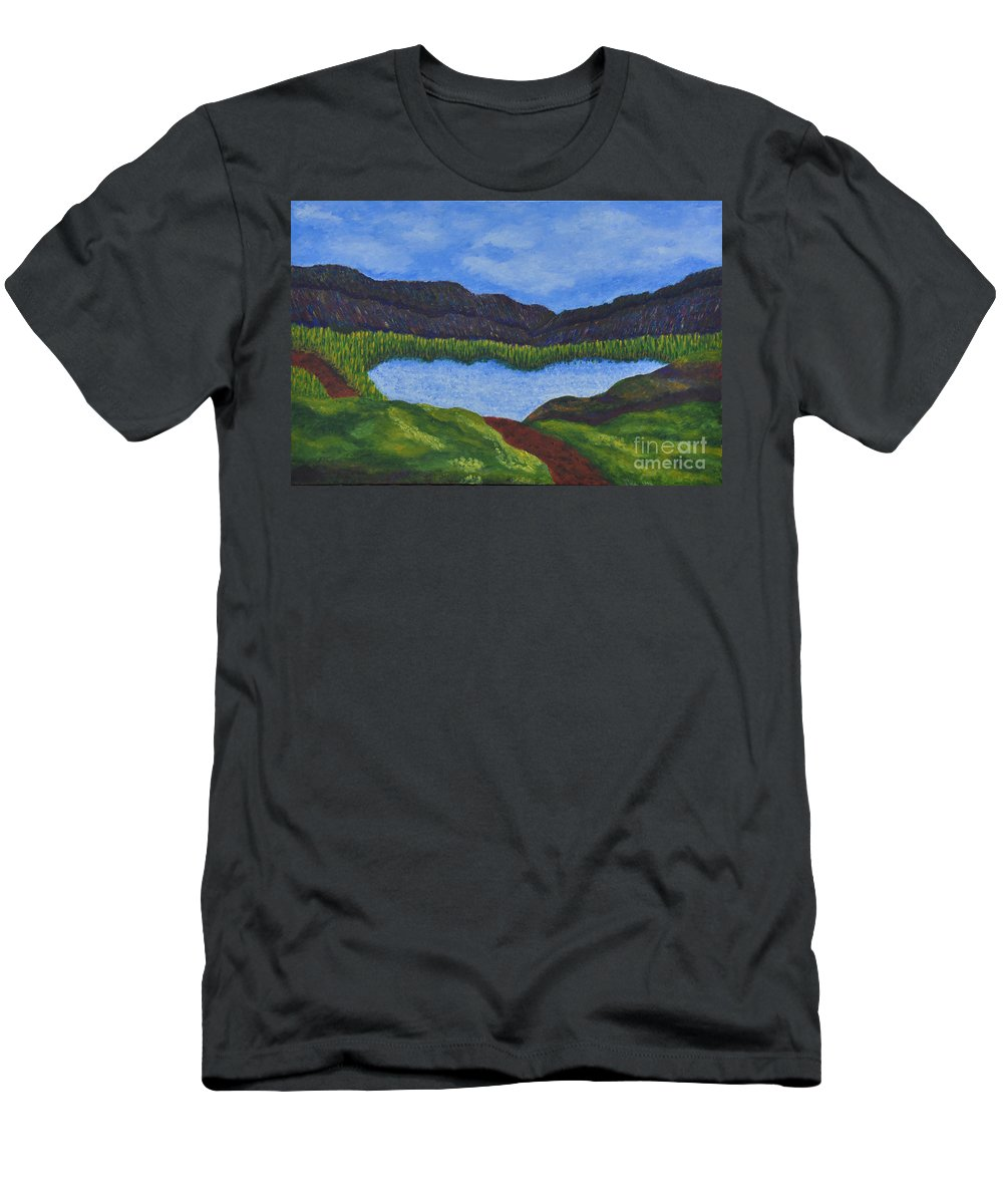 Landscape Men's T-Shirt (Athletic Fit) featuring the painting 007 Landscape by Chowdary V Arikatla
