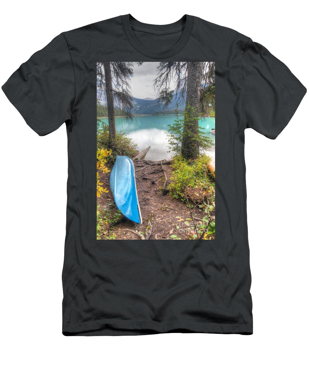 Emerald Men's T-Shirt (Athletic Fit) featuring the photograph 0162 Emerald Lake by Steve Sturgill
