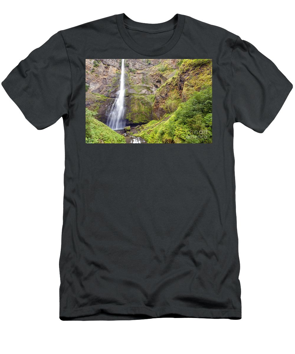 Multnomah Men's T-Shirt (Athletic Fit) featuring the photograph 0237 Multnomah Falls Oregon by Steve Sturgill
