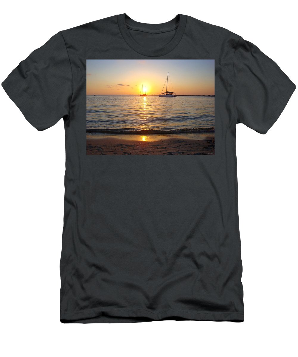 20120531 Men's T-Shirt (Athletic Fit) featuring the photograph 0531 Sailboats At Sunset On Sound by Jeff at JSJ Photography