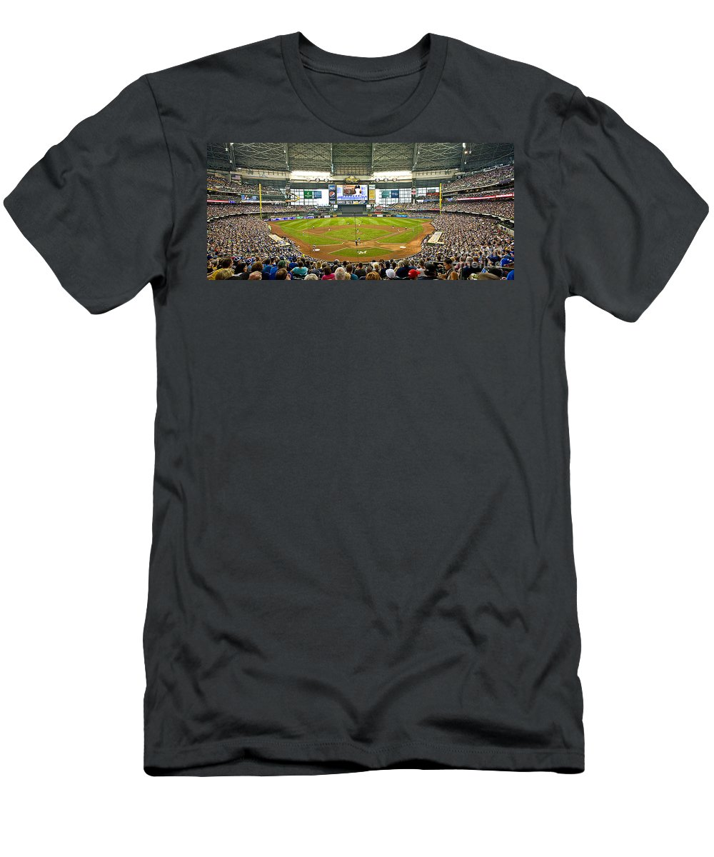 Milwaukee Men's T-Shirt (Athletic Fit) featuring the photograph 0618 Milwaukee's Miller Park by Steve Sturgill