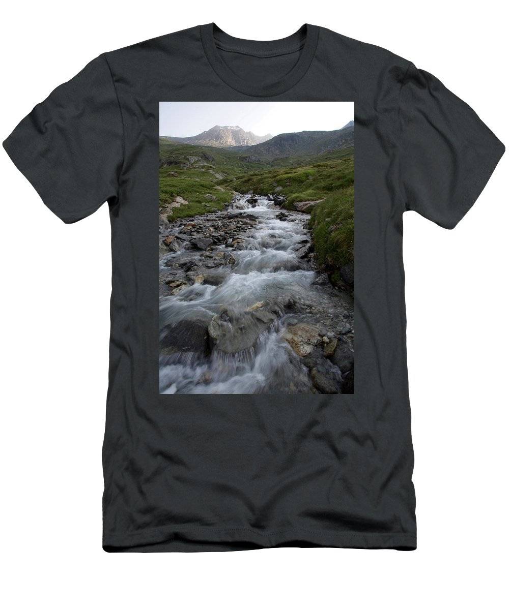 Alps Men's T-Shirt (Athletic Fit) featuring the photograph A Mountain Stream In Vanoise National by Jose Azel